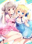 2girls :d animal_ear_fluff animal_ears bare_shoulders blonde_hair blue_bow blue_dress blue_eyes blue_flower blush bow brown_eyes brown_footwear cat_ears commentary_request detached_sleeves double_bun dress fang flower frilled_dress frills grey_hair hair_bow hair_flower hair_ornament hand_up highres index_finger_raised irori long_hair multiple_girls off-shoulder_dress off_shoulder open_mouth original parted_lips pink_dress pink_flower pink_sleeves puffy_short_sleeves puffy_sleeves shoes short_sleeves sleeveless sleeveless_dress smile twintails very_long_hair