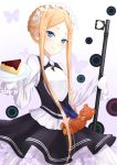 1girl abigail_williams_(fate/grand_order) alternate_costume bangs black_skirt blonde_hair blue_eyes blush braid breasts bug butterfly cake closed_mouth dress enmaided fate/grand_order fate_(series) food forehead french_braid frills hei_kuang_jun heroic_spirit_festival_outfit highres insect keyhole long_hair long_sleeves looking_at_viewer maid maid_headdress mop parted_bangs plate sash skirt sleeves_past_fingers sleeves_past_wrists small_breasts smile solo stuffed_animal stuffed_toy teddy_bear very_long_hair white_background white_dress