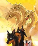 closed_eyes comparison doberman dog fangs godzilla:_king_of_the_monsters godzilla_(series) horns kaijuu king_ghidorah king_ghidorah_(godzilla:_king_of_the_monsters) long_neck monster multiple_heads scales serious shiba_inu smile spikes spines tongue tongue_out tsk03 wings