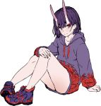 1girl fate/grand_order fate_(series) highres horns incloud legs looking_at_viewer oni oni_horns shoes shuten_douji_(fate/grand_order) sketch smile sneakers solo