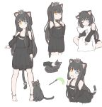 1girl animal animal_ear_fluff animal_ears bangs bare_shoulders barefoot black_cat black_hair blue_eyes braid cat cat_ears cat_girl cat_tail cat_teaser crown eyebrows_visible_through_hair fang hair_between_eyes heterochromia highres keiran_(ryo170) long_hair long_sleeves mini_crown multiple_views one_eye_closed open_mouth original pillow pillow_hug standing tail tears tilted_headwear very_long_hair yellow_eyes