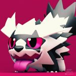 3d artist_name black_fur black_nose fangs galar_form galarian_zigzagoon henry_vargas no_humans open_mouth pokemon pokemon_(creature) pokemon_(game) pokemon_swsh raccoon red_background red_eyes tongue tongue_out tumblr_username twitter_username white_fur zigzagoon