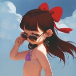 1girl alkemanubis bikini bikini_top bow brown_hair child clouds from_side green_eyes hair_bow highres long_hair looking_to_the_side open_mouth original outdoors purple_bikini_top removing_eyewear ribbon sky solo sunglasses swimsuit upper_body wind