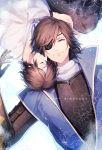2boys armor brown_hair cuddling date_masamune_(sengoku_basara) eyepatch happy_birthday lying male_focus miyamotokannn multiple_boys on_back sengoku_basara smile