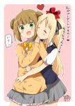 2girls bangs black_bow blonde_hair blush_stickers bow brown_hair closed_eyes closed_mouth collared_shirt commentary_request dated double_bun eyebrows_visible_through_hair grey_skirt hair_bow heart highres jacket long_hair long_sleeves manda_rin multiple_girls ootani_nyuu open_mouth pink_background ragho_no_erika red_bow school_uniform shirt short_sleeves sidelocks signature skirt sleeves_past_wrists striped striped_background striped_bow sukurizo! sweat sweater_vest translated two-tone_background v-shaped_eyebrows vertical-striped_background vertical-striped_skirt vertical_stripes very_long_hair white_background white_shirt yellow_bow yellow_jacket yuri