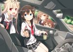 4girls ahoge bangs black_hair black_ribbon black_serafuku blonde_hair blue_eyes blush braid breasts brown_eyes brown_hair bubble_tea car car_interior closed_mouth commentary_request cup day drink drinking drinking_straw eyebrows_visible_through_hair ground_vehicle hair_between_eyes hair_flaps hair_ornament hair_over_shoulder hair_ribbon hairband hairclip holding holding_cup jewelry kantai_collection light_brown_hair long_hair looking_at_viewer medium_breasts motor_vehicle multiple_girls murasame_(kantai_collection) neckerchief necklace open_mouth peeking_out red_eyes red_neckwear remodel_(kantai_collection) ribbon sailor_collar scarf school_uniform serafuku shigure_(kantai_collection) shiratsuyu_(kantai_collection) single_braid smile standing tree twintails two_side_up white_scarf yume_no_owari yuudachi_(kantai_collection)