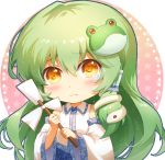 1girl bangs bare_shoulders blue_skirt blush bow chibi circle commentary detached_sleeves eyebrows_visible_through_hair frog_hair_ornament green_hair hair_between_eyes hair_ornament hair_tubes holding kochiya_sanae long_hair long_sleeves looking_at_viewer shangguan_feiying shirt sidelocks simple_background skirt snake_hair_ornament solo star tears touhou upper_body very_long_hair white_background white_bow white_shirt wide_sleeves yellow_eyes