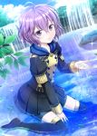 1girl artist_name bernadetta_von_varley boots fire_emblem fire_emblem:_three_houses highres looking_at_viewer nichika_(nitikapo) partially_submerged plant purple_hair school_uniform shorts shorts_under_skirt sitting skirt smile solo thigh-highs thigh_boots violet_eyes wariza water water_in_hands