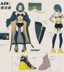 1girl azki_(vsinger) azki_channel bare_shoulders character_name character_sheet facepaint full_body grey_background highres hololive jewelry kogecha_(coge_ch) loincloth long_sleeves multicolored_hair necklace official_art see-through shoes short_hair tagme thigh-highs thighs two-tone_hair virtual_youtuber yellow_footwear zipper