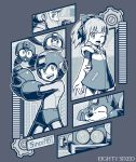 1girl 2boys arm_behind_back arm_cannon beard beat_(rockman) bird dog eddie_(rockman) facial_hair gears grey_theme greyscale kuroi_susumu looking_at_viewer monochrome multiple_boys one_eye_closed open_mouth profile rightot robot rockman rockman_(character) roll rush_(rockman) smile thomas_light weapon