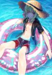 barefoot blonde_hair blush chest hat highres jacket kyuui_d lio_fotia long_hair looking_at_viewer male_focus navel one_eye_closed promare shorts simple_background smile solo swimsuit water
