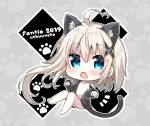 1girl 2019 :o animal_ear_fluff animal_ears artist_name asymmetrical_hair bangs bare_legs barefoot blonde_hair blue_eyes blush cat_ears cat_girl cat_tail chibi collarbone commentary_request eyebrows_visible_through_hair fang grey_background grey_jacket hair_between_eyes hood hood_down hooded_jacket jacket kemonomimi_mode long_hair long_sleeves looking_at_viewer naked_coat no_nipples off_shoulder open_clothes open_jacket open_mouth original paw_background sleeves_past_wrists solo tail tia-chan uchuuneko very_long_hair