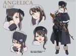 1girl brown_hair character_name commentary_request fur_hat gloves green_eyes gun hair_ornament hairclip hat highres long_hair mitsusaka_mitsumi original rifle sniper_rifle solo thigh-highs translation_request ushanka weapon