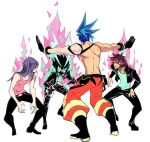3boys baggy_pants black_gloves black_jacket blue_hair cravat denim fire galo_thymos gloves gueira hair_over_one_eye half_gloves jacket jeans jurassic_world lio_fotia long_hair mad_burnish male_focus manbou_no_ane meis_(promare) meme multiple_boys outstretched_arms pants parody prattkeeping promare redhead shirt shirtless spiky_hair