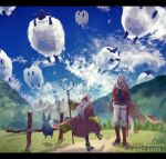 1boy 1girl animal_ears belt black_gloves blue_sky braid brown_cape canaan_(pixiv_fantasia_last_saga) cape clouds copyright_name day flower gadis_(pixiv_fantasia_last_saga) gloves hair_flower hair_ornament hayakawaseli highres lens long_hair mountain outdoors pixiv_fantasia pixiv_fantasia_last_saga pointy_ears sheath sheathed sheep sky standing very_long_hair white_hair wide_sleeves