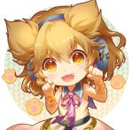1girl :d bangs bare_arms bare_shoulders belt black_belt blonde_hair blouse blush bracelet chibi circle commentary earmuffs eyebrows_visible_through_hair fang hair_between_eyes hands_up head_tilt jewelry light_particles looking_at_viewer neck_ribbon open_mouth paw_pose paw_print pointy_hair purple_neckwear purple_ribbon ribbon shangguan_feiying short_hair simple_background sleeveless sleeveless_blouse smile solo touhou toyosatomimi_no_miko upper_body white_background yellow_eyes