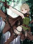 1girl armpits arrow belt blonde_hair boots bow_(weapon) breasts brown_gloves cape elf forest gloves highres holding holding_bow_(weapon) holding_weapon long_hair nature nyatabe orange_eyes original pointy_ears ponytail pouch quiver sleeveless solo thigh-highs thigh_boots weapon