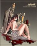 1girl arm_support artist_name artist_request back bangs bare_arms bare_legs bare_shoulders barefoot black_hair breasts character_name collaboration commentary_request copyright_name from_side full_body gradient gradient_background grey_hair highres indomitable_(warship_girls_r) knees_up large_breasts long_hair looking_at_viewer looking_to_the_side machinery naked_towel open_mouth redhead shower_head sitting solo steampunk towel warship_girls_r windforcelan