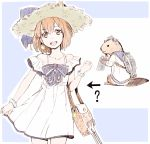 1girl 1other ? adapted_turret anchor_symbol animalization bag beaver binoculars black_bow blue_background bow brown_eyes brown_hair commentary cowboy_shot directional_arrow dress dual_persona headgear headset highres kantai_collection looking_at_viewer open_mouth round_teeth sailor_dress short_hair smile speaking_tube_headset sundress teeth two-tone_background upper_teeth white_dress yoshinaga_yunosuke yukikaze_(kantai_collection)