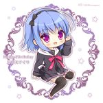 1girl :d bangs black_bow black_hairband black_jacket black_legwear black_skirt blue_hair blush bow brown_footwear character_name chibi commentary_request eyebrows_visible_through_hair hair_between_eyes hair_bow hairband hand_up happy_birthday hello_good-bye hood hood_down hooded_jacket jacket long_hair long_sleeves looking_at_viewer open_clothes open_jacket open_mouth pleated_skirt ryuuka_sane saotome_suguri sitting skirt sleeves_past_wrists smile solo star thigh-highs twitter_username violet_eyes white_background