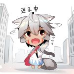 1girl ahoge animal_ear_fluff animal_ears bag bangs barefoot blush building chibi city day dress eyebrows_visible_through_hair facial_mark fox_ears fox_girl fox_tail grey_hair hair_between_eyes long_hair long_sleeves open_mouth original outdoors red_eyes shoulder_bag solo tail tears translated very_long_hair wavy_mouth white_background white_dress wide_sleeves yuuji_(yukimimi)