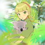 1girl animal bangs blurry_foreground brown_shirt commentary day english_text girls_und_panzer hair_ribbon holding holding_animal koala koala_forest_military_uniform looking_at_viewer medium_hair outdoors palm_tree parted_lips ponytail red_ribbon ribbon shirt short_sleeves solo standing sumiredoljo tree wallaby_(girls_und_panzer)