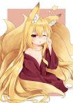 1girl ;o animal_ear_fluff animal_ears blonde_hair fox_ears fox_tail highres japanese_clothes kimono long_hair multiple_tails one_eye_closed original red_eyes sakuma_hiragi sitting sleepy tail