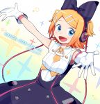 1girl bangs black_bow blonde_hair blue_eyes bow cable commentary cosplay cowboy_shot dress dutch_angle fang foreshortening gloves hair_bow hair_ornament hairclip hatsune_miku hatsune_miku_(cosplay) headphones highres kagamine_rin looking_at_viewer magical_mirai_(vocaloid) necktie nokuhashi open_mouth outstretched_arms shirt short_hair short_necktie skirt sleeveless sleeveless_shirt smile solo sparkle swept_bangs vocaloid white_gloves yellow_neckwear