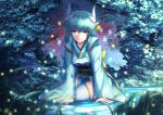 1girl bangs blue_kimono brown_eyes commentary_request dragon_horns eyebrows_visible_through_hair fate/grand_order fate_(series) green_hair hair_between_eyes horns japanese_clothes kimono kiyohime_(fate/grand_order) long_hair long_sleeves looking_at_viewer mishiro0229 night night_sky obi outdoors parted_lips ripples sash sky sleeves_past_wrists solo star_(sky) starry_sky thigh-highs very_long_hair water white_legwear wide_sleeves