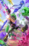 absurdres arm_up bare_arms beitemian black_shorts blue_eyes blurry blurry_background domino_mask full_body gloves green_hair grin headband highres holding ink_tank_(splatoon) inkling jumping leggings legwear_under_shorts looking_at_another looking_down looking_up mask midriff_peek navel outstretched_arm paint paint_splatter pants pantyhose pointy_ears shirt shoes short_hair short_sleeves shorts smile soles solo_focus splashing splatoon_(series) squid stomach super_soaker t-shirt tentacle_hair