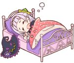 1girl bangs bed blanket blunt_bangs closed_eyes hair_ornament hat hololive hot_kakigoori long_hair lowres lying murasaki_shion o_o open_mouth pillow purple_pillow shark sleeping solo stuffed_animal stuffed_toy virtual_youtuber white_background white_hair witch_hat