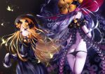 2girls abigail_williams_(fate/grand_order) ass back bangs bare_shoulders black_bow black_dress black_headwear black_panties blonde_hair blue_eyes bow bug butterfly commentary dress dual_persona fate/grand_order fate_(series) forehead glowing glowing_eye hair_bow hat highres insect keyhole long_hair long_sleeves looking_at_viewer lowleg lowleg_panties multiple_bows multiple_girls multiple_hair_bows multiple_hat_bows orange_bow panties parted_bangs pink_eyes polka_dot polka_dot_bow revision sleeves_past_fingers sleeves_past_wrists smile tentacles thighs third_eye underwear vanitas_0 white_hair white_skin witch_hat