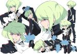 belt biker_clothes black_gloves black_jacket bound bound_legs bound_wrists cravat expressions gloves green_hair half_gloves jacket lio_fotia male_focus multiple_belts multiple_views open_mouth promare rew241 smile solo violet_eyes