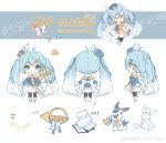 2020 absurdres ahoge band_uniform beamed_eighth_notes blue_eyes blue_hair boots bow bowtie character_sheet chibi dress_bow eighth_note epaulettes french_horn fringe_trim from_behind from_side hat hat_feather hatsune_miku highres horn_(instrument) instrument long_hair looking_at_viewer maple_(57675110) mini_hat mini_top_hat musical_note musical_note_print official_art quarter_note rabbit sheet_music skirt smile snowflake_print staff_(music) thigh-highs top_hat translated treble_clef twintails very_long_hair vocaloid yuki_miku yuki_miku_(2020) yukine_(vocaloid)