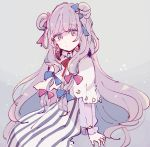 1girl blue_bow bow closed_mouth commentary crescent double_bun hair_bow long_hair long_sleeves looking_at_viewer mozukuzu_(manukedori) patchouli_knowledge purple_bow purple_hair see-through simple_background sitting sketch solo striped touhou very_long_hair violet_eyes