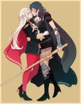 2girls absurdres arm_around_waist beige_background blush boots brooch byleth_(fire_emblem) byleth_(fire_emblem)_(female) cape closed_eyes dreamsyndd edelgard_von_hresvelg fire_emblem fire_emblem:_three_houses hair_ribbon high_heels highres hug jewelry long_hair medium_hair multiple_girls noses_touching pantyhose red_legwear ribbon simple_background smile standing sword weapon yuri