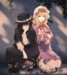 2girls bangs black_capelet black_cat black_eyes black_footwear black_hair black_headwear black_skirt blonde_hair bow bowtie capelet cat chen chen_(cat) commentary_request dress eyebrows_visible_through_hair fedora hair_over_one_eye hand_up hat hat_bow highres houraisan_chouko kneeling long_hair long_skirt long_sleeves looking_at_another maribel_hearn mob_cap multiple_girls multiple_tails nekomata purple_dress red_bow red_neckwear ribbon-trimmed_skirt ribbon_trim shadow shirt shoes short_dress short_hair skirt socks squatting tail touhou two_tails usami_renko violet_eyes white_bow white_headwear white_legwear white_shirt
