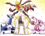 arceus claws closed_eyes commentary_request confetti dialga flying gem gen_4_pokemon giratina happy highres ice_ground legendary_pokemon no_humans open_mouth palkia pokemon pokemon_(creature) pokemon_(game) pokemon_dppt simple_background smile spikes tail teeth white_background wings