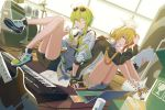2girls belt blonde_hair blue_eyes boots bow box cd commentary_request computer cymbals drum drum_set electric_guitar eyewear_on_head fingerless_gloves full_body gloves green_eyes green_hair guitar gumi hair_bow hair_ornament hairclip headphones headphones_around_neck highres holding holding_paper holding_pen instrument jacket kagamine_rin keyboard_(instrument) knees_to_chest knees_up laptop looking_at_viewer multiple_girls one_eye_closed paper pen pen_to_chin revision shoes short_hair_with_long_locks shorts sitting smile sneakers speaker sunglasses thighs vocaloid white_bow wounds404 yamaha_dx7