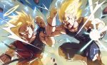 2boys abs anger_vein annoyed aqua_eyes aura battle blonde_hair blood blood_from_mouth blurry blurry_background clenched_hand clenched_hands clenched_teeth d: dirty dirty_clothes dirty_face dougi dragon_ball dragon_ball_z electricity energy_ball fighting fighting_stance fingernails frown gloves halo head_tilt highres looking_at_another majin_vegeta male_focus multiple_boys muscle open_mouth rock shaded_face sharp_teeth sleeveless son_gokuu spiky_hair super_saiyan sweat sweatdrop teeth torn_clothes torn_legwear twitter_username vegeta veins virusmao_db white_gloves wristband