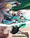 1boy blonde_hair boots cape cardfight!!_vanguard green_eyes haru_(toyst) male_focus official_art radical_knight_anil solo sword teeth weapon