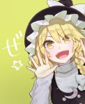 1girl :d bangs black_headwear black_vest blonde_hair blush bow braid commentary_request crescent eyebrows_visible_through_hair hair_between_eyes hair_bow hands_up hat hat_bow juliet_sleeves kirisame_marisa long_hair long_sleeves looking_at_viewer open_mouth puffy_sleeves shirt simple_background single_braid smile solo star syuri22 touhou translation_request upper_body vest white_bow white_shirt witch_hat yellow_background yellow_eyes