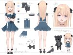 +++ 1girl :< :d bangs black_bow black_choker black_footwear blonde_hair blue_dress blue_eyes bow character_sheet chibi choker closed_mouth commentary_request copyright_request dress eyebrows_visible_through_hair fang frilled_dress frills hair_between_eyes hair_bow high_heels kanju long_hair multiple_views object_hug open_mouth shoes short_sleeves smile stuffed_animal stuffed_toy teddy_bear translation_request two_side_up virtual_youtuber white_bow