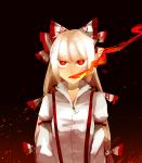 1girl arm_garter bow breathing_fire burning_eyes burnt_clothes fire flame fujiwara_no_mokou hachimillion hair_bow long_hair long_sleeves red_eyes shirt simple_background solo suspenders touhou very_long_hair white_hair white_shirt