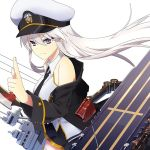 1girl azur_lane black_coat black_neckwear blue_background bow_(weapon) circle coat collared_shirt commentary_request enterprise_(azur_lane) flight_deck hat military military_hat miniskirt necktie official_art open_clothes open_coat peaked_cap shirt silver_hair skirt sleeveless sleeveless_shirt violet_eyes weapon white_background white_headwear