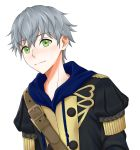 1boy artist_name ashe_duran epaulettes fire_emblem fire_emblem:_three_houses freckles green_eyes grey_hair highres male_focus solo torami23 uniform upper_body white_background
