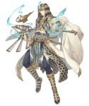 1boy abs aladdin_(sinoalice) blonde_hair blue_eyes bracelet cloak dagger egyptian_clothes full_body gold_trim holding holding_staff jewelry ji_no looking_at_viewer midriff nemes official_art oil_lamp pelvic_curtain sandals sinoalice smile solo staff transparent_background waist_cape weapon