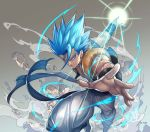 1boy aura baggy_pants bangs blue_eyes blue_hair commentary_request dragon_ball dragon_ball_super_broly energy_ball english_commentary fighting_stance gogeta gradient gradient_background grey_background grin highres katsutake leaning leaning_forward looking_away male_focus mixed-language_commentary outstretched_arm pants rock shaded_face simple_background smile smoke spiky_hair standing standing_on_one_leg super_saiyan_blue waistcoat white_background white_pants wristband