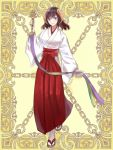 1girl bell breasts brown_hair full_body hakama horns japanese_clothes jingle_bell kagura_suzu kerberos_blade kusunokinawate long_hair looking_at_viewer miko red_eyes red_hakama smile solo standing white_legwear wide_sleeves yellow_background