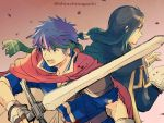 2boys black_hair blue_eyes blue_hair book cape facial_mark fire_emblem fire_emblem:_path_of_radiance gloves headband highres ike_(fire_emblem) long_hair male_focus multiple_boys nishimura_(nianiamu) ragnell red_eyes short_hair simple_background soren weapon